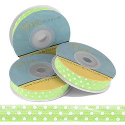 LIME with White Polka Dots Fold Over Elastic