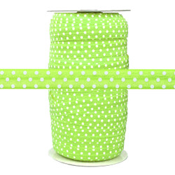 Lime with White Polka Dots Wholesale Fold Over Elastic 100yd