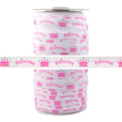 Princess Crown Print Fold Over Elastic 100yd