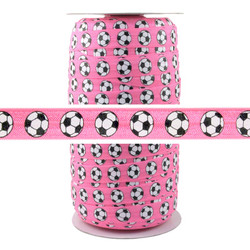 Soccer Pink Print Fold Over Elastic 100yd