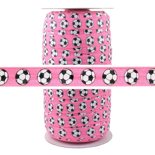 Soccer Pink Print Fold Over Elastic 100yd