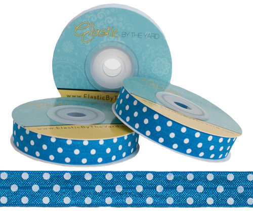Blue with White Polka Dots Fold Over Elastic