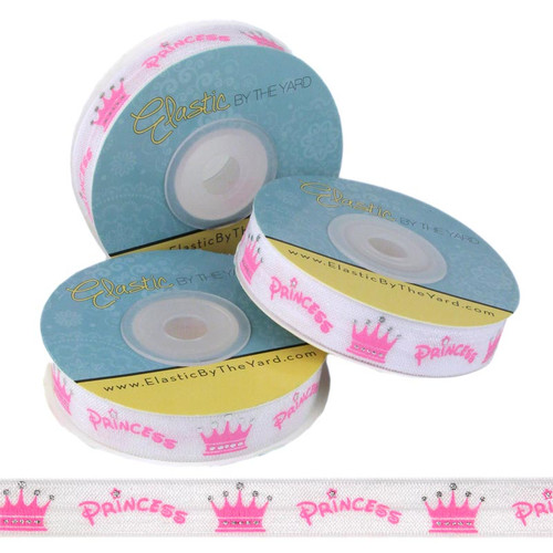 Princess Crown White Print Fold Over Elastic