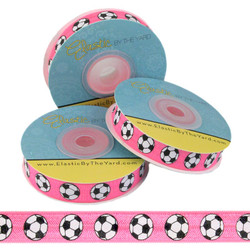 Soccer Ball Pink Print Fold Over Elastic