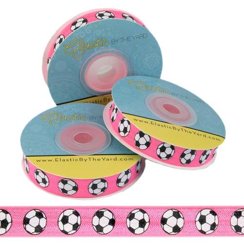 Soccer Ball Pink Print Fold Over Elastic