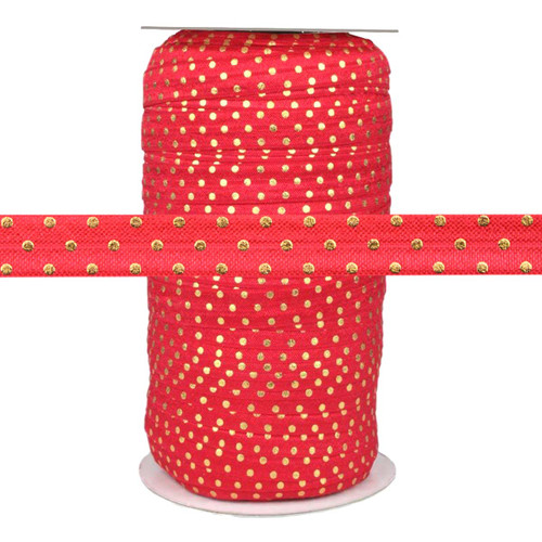 Red Gold Dots Fold Over Elastic 100yd