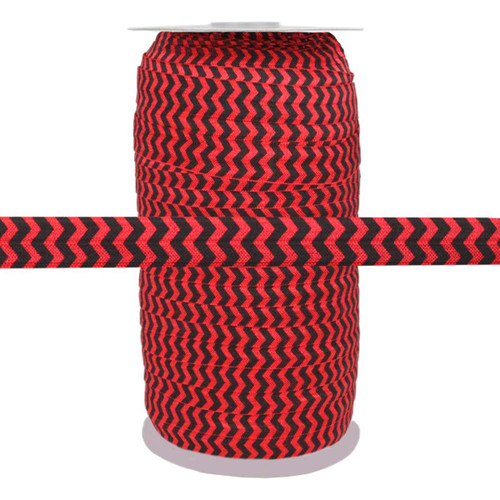 "Black Chevron on Red 5/8"" Fold Over Elastic 100yd"