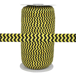 "Black Chevron on Yellow 5/8"" Fold Over Elastic 100yd"