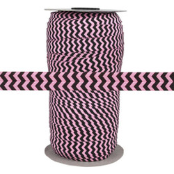 "Black Chevron on Pink 5/8"" Fold Over Elastic 100yd"
