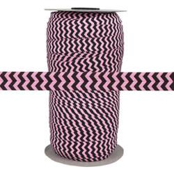 "Black Chevron on Pink 5/8"" Fold Over Elastic 100yd"