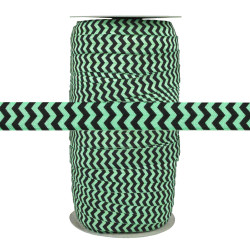 "Black Chevron on Cool Mint 5/8"" Fold Over Elastic 100yd"