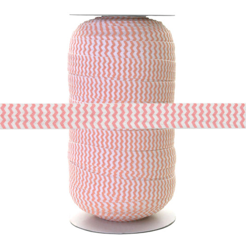 "Baby Pink Chevron on White 5/8"" Fold Over Elastic 100yd"