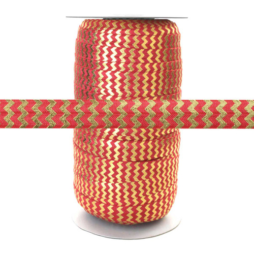 Poppy Red w/ Gold Metallic Chevron Fold Over Elastic 100yd