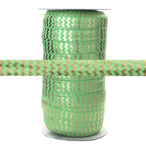 Lime w/ Gold Metallic Chevron Fold Over Elastic 100yd