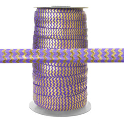 Purple w/ Gold Metallic Chevron Fold Over Elastic 100yd