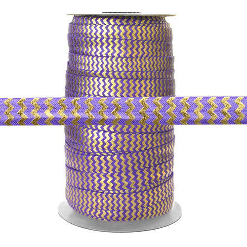 Purple w/ Gold Metallic Chevron Fold Over Elastic 100yd