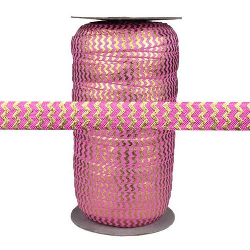 "Rose w/ Gold Metallic Chevron 5/8"" Fold Over Elastic 100yd"
