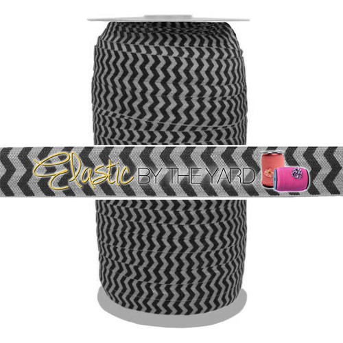 Black Chevron on Gray Fold Over Elastic 100yd