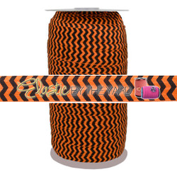 Black Chevron on Orange Fold Over Elastic 100yd
