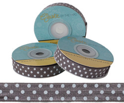 Gray with White Polka Dots Fold Over Elastic