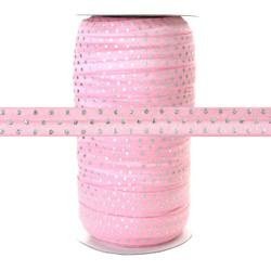 Lite Pink Silver Dots Print Fold Over Elastic 100yd