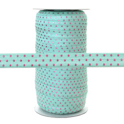 """Aqua w/ Pink Dots 5/8"""" Fold Over Elastic 100yd"""