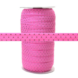 Pink w/ Pink Dots Fold Over Elastic 100yd