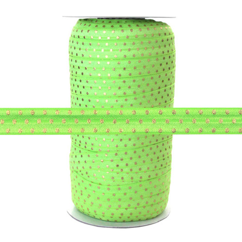 """Bright Green Gold Dots - 100 Yard Roll 5/8"""" Fold Over Elastic"""
