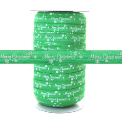 "Merry Christmas on Green 100 YD 5/8"" Fold Over Elastic - FOE"