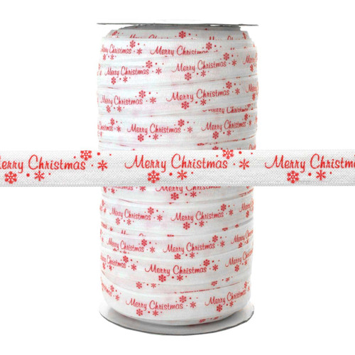 "Merry Christmas on White 100 YD 5/8"" Fold Over Elastic - FOE"