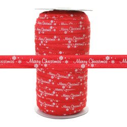 "Merry Christmas on Red 100 YD 5/8"" Fold Over Elastic - FOE"