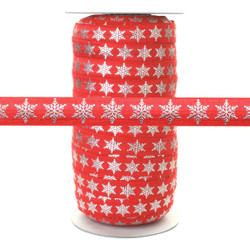 Silver Metallic Snowflake on Red - Fold Over Elastic 100yd