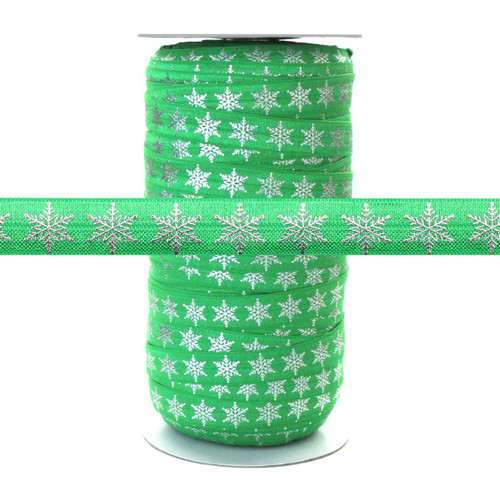 Silver Metallic Snowflake on Green - Fold Over Elastic 100yd