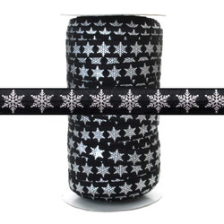 Silver Metallic Snowflake on Black - Fold Over Elastic 100yd