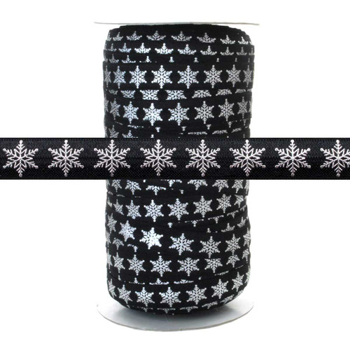Silver Metallic Snowflake on Black - Fold Over Elastic 100yd