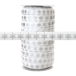 Silver Metallic Snowflake on White - Fold Over Elastic 100yd