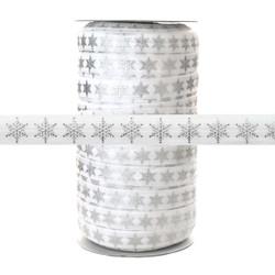 Silver Metallic Snowflake on White - Fold Over Elastic 100yd