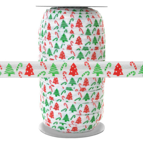 Candy Cane Christmas Tree - Fold Over Elastic 100yd