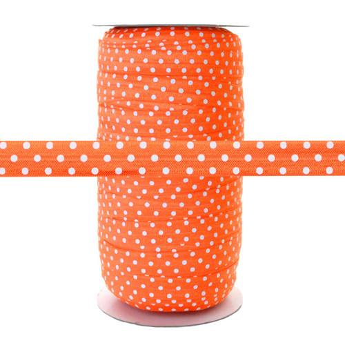 Orange w/ White Polka Dots - Fold Over Elastic 100yd