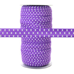 Purple w/ White Polka Dots - Fold Over Elastic 100yd
