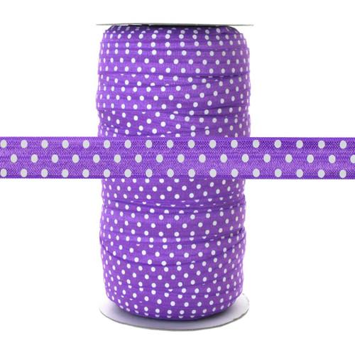 Purple w/ White Polka Dots - Fold Over Elastic 100yd