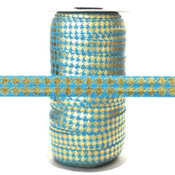 "Blue w/ Gold Metallic Houndstooth 5/8"" Fold Over Elastic 100yd"