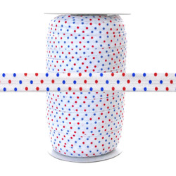 Red & Blue Polka Dots on White - Fold Over Elastic 100yd