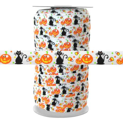Halloween Pumpkin Black Cat on White 100yd