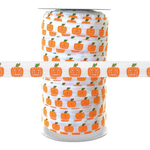 Halloween Pumpkin on White 100yd