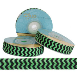 Green and Black Chevron Print Fold Over Elastic