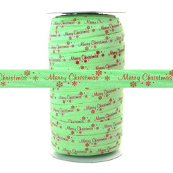 "Merry Christmas on Lite Green 100yd 5/8"" Fold Over Elastic"