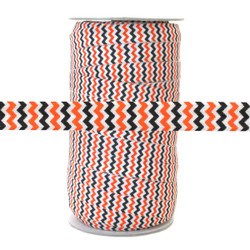 "Orange & Black Chevron on White 5/8"" Fold Over Elastic 100yd"
