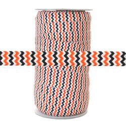 "Orange & Black Chevron on White 5/8"" Fold Over Elastic 100yd"