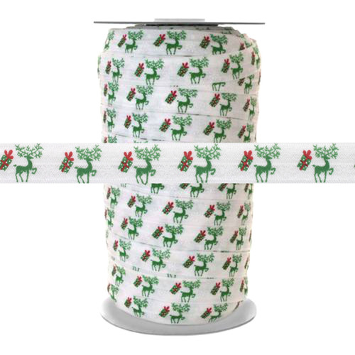 "Reindeer Christmas Gifts on White 100yd 5/8"" Fold Over Elastic"